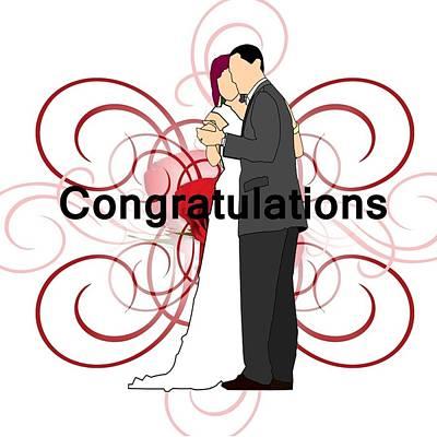 Digital Art - Bride N Groom Congratulations by Florene Welebny