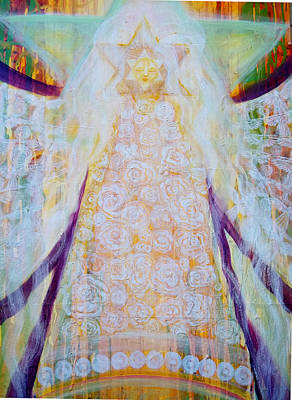 Prophetic Painting - Bride Of Christ Center Panel Detail by Anne Cameron Cutri