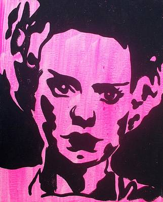 Painting - Bride Of Frankenstein Pink by Marisela Mungia