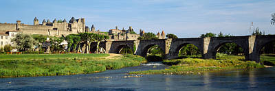 Carcassonne Photograph - Bridge Across A River, Aude River by Panoramic Images