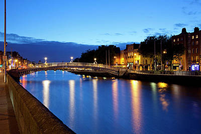 Republic Building Photograph - Bridge Across A River, Hapenny Bridge by Panoramic Images