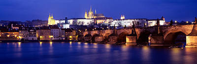 Vltava Photograph - Bridge Across A River Lit Up At Night by Panoramic Images