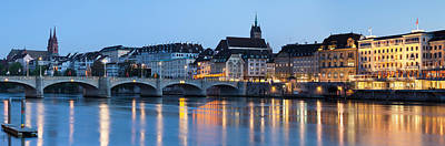 Basel Photograph - Bridge Across A River With A Cathedral by Panoramic Images