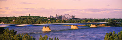 Bridge Across A River With Montreal Art Print by Panoramic Images
