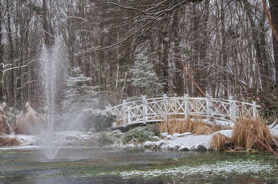 Photograph - Bridge Across Pond During Winter Snowfall At Sayen Gardens by Beth Sawickie