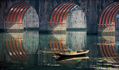 Canoe Photograph - Bridge And Boat On Wuyang River by Keren Su