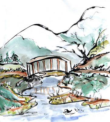 Fukinsei Painting - Bridge And Ducks In Slow Water by Ellen Miffitt