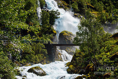 Water Photograph - Bridge At Briksdalsbreen Norway by Gry Thunes