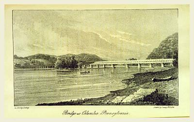 Pennsylvania Drawing - Bridge At Columbia Pennsylvania, A Visit To North America by Litz Collection