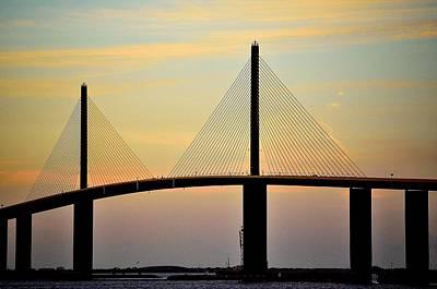Bridge At Dusk Art Print by Charles J Pfohl