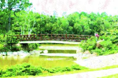 Mixed Media - Bridge At Morikami by Florene Welebny