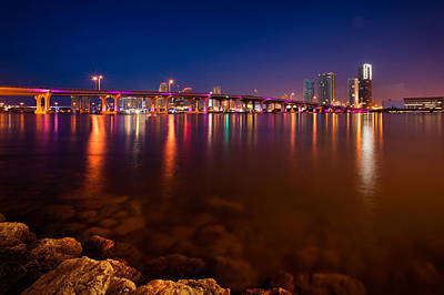 Photograph - Bridge At Night In Miami by Celso Diniz