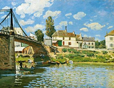 Nice France Painting - Bridge At Villeneuve-la-garenne by Alfred Sisley