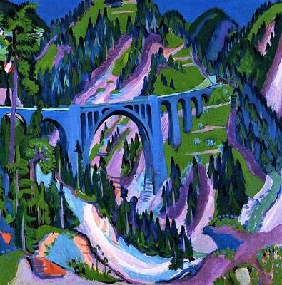 Switzerland Painting - Bridge At Wiesen by Ernst Ludwig Kirchner