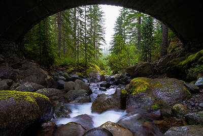 Waterscape Photograph - Bridge Below Rainier by Chad Dutson