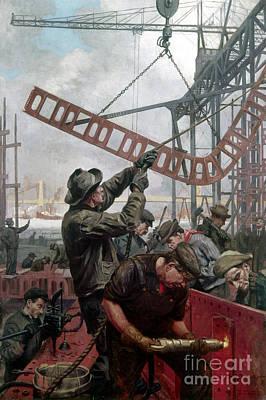 Bridge Construction 1909 Print by Granger