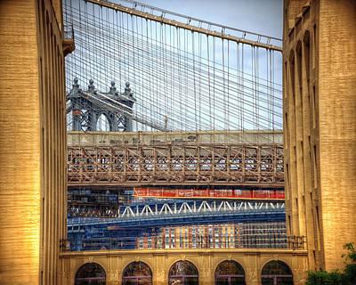 Bridge Convergence In Brooklyn Art Print by Vicki Jauron