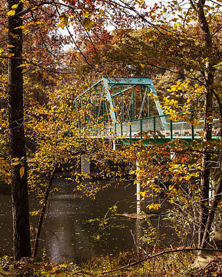 Photograph - Bridge Crossing Over The River In The Autumn Trees Fine Art Prints As Gift For The Holidays  by Jerry Cowart