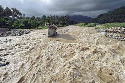 Flooding Photograph - Bridge Destroyed By Flooding, Indonesia by Science Photo Library