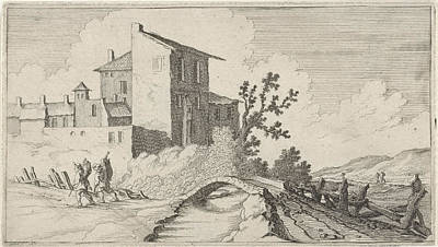 Dirt Roads Drawing - Bridge For Walled Buildings, Gillis Van Scheyndel by Gillis Van Scheyndel (i)