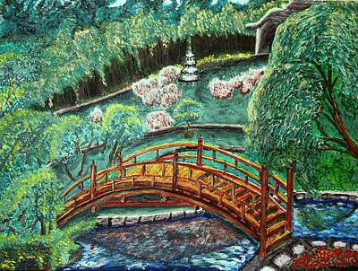 Huntington Painting - Bridge In A Garden In Pasadena by Irving Starr