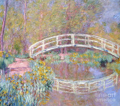 Reflecting Tree Painting - Bridge In Monet's Garden by Claude Monet