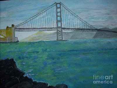 Sanfrancisco Painting - Bridge In Sanfrancisco by Linda Mrazek