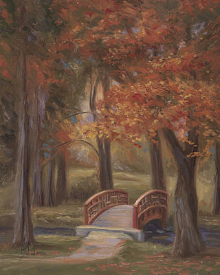 New England Painting - Bridge In The Fall by Lucie Bilodeau