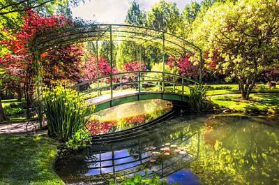 Bridge In The Garden Art Print by Debra and Dave Vanderlaan