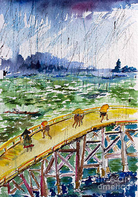 Painting - Bridge In The Rain After Van Gogh After Hiroshige by Ginette Callaway