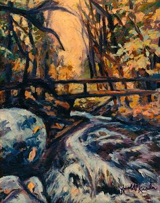 Painting - Bridge In Woods Small by Kendall Kessler