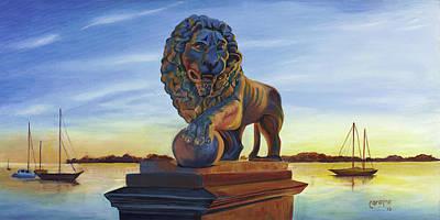 Bridge Lion Art Print by Caroline Conkin