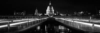 White River Scene Photograph - Bridge Lit Up At Night, London by Panoramic Images