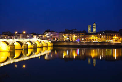 Saone River Photograph - Bridge Lit Up At Night, Pont St-laurent by Panoramic Images