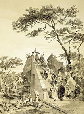 Chinese Architecture Drawing - Bridge Near Canton, Plate 30 by Auguste Borget
