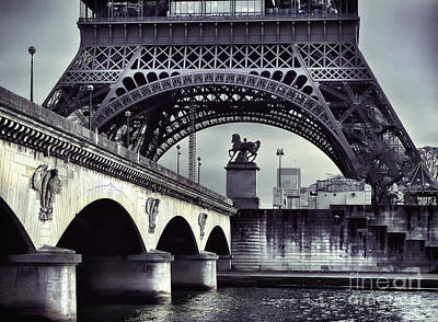 Photograph - Bridge Near The Eiffel Tower Paris by Daliana Pacuraru