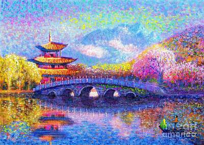 Cherry Tree Painting - Bridge Of Dreams by Jane Small