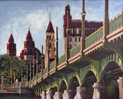 Florida Bridge Painting - Bridge Of Lions St. Augustine by Francoise Lynch