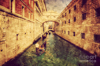 Parchment Photograph - Bridge Of Sighs And Gondola In Venice by Michal Bednarek