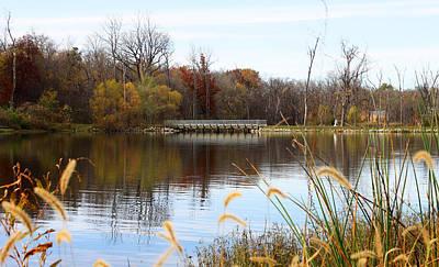 Bridge On Lake Remembrance Art Print by Ellen Tully