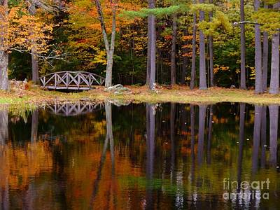 Pineland Farms Photograph - Bridge On Pond In Autumn At Pinelands Farm by Christine Stack