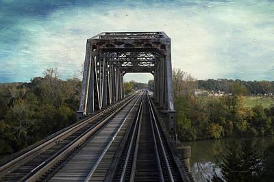 Digital Art - Bridge On The Metra Sws Line Blue Sky Textured by Thomas Woolworth