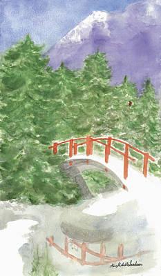 Bridge Over Frozen Water Art Print