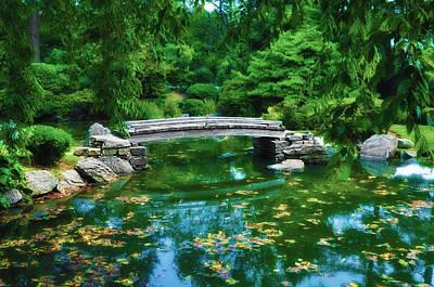 Koi Digital Art - Bridge Over Koi Pond by Bill Cannon