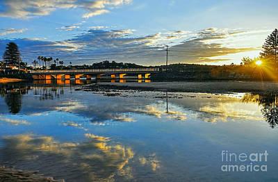 Bridge Over Lake At Sunset Narrabeen Lakes Sydney Art Print by Kaye Menner