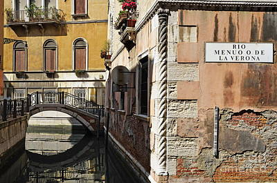 Bridge Over Narrow Canal Art Print by Sami Sarkis