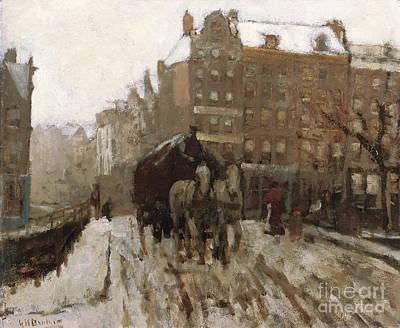 Horse-drawn Painting - Bridge Over Singel Canal By The Paleisstraat by Georg Hendrik Breitner