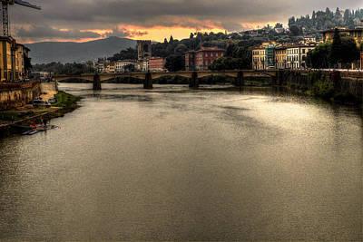 Toscana Digital Art - Bridge Over The Arno by William Fields