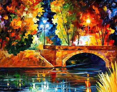 Bridge Over The Life - Palette Knife Oil Painting On Canvas By Leonid Afremov Original by Leonid Afremov