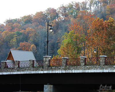 Photograph - Bridge Over The River Quaint In Cherokee North Carolina Smokey Mountains by Robin Lewis